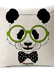 Modern Style Panda glasses Patterned Cotton/Linen Decorative Pillow Cover