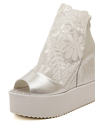 Women's Shoes Lace Wedge Heel Wedges/Peep Toe Sandals Dress White/Silver