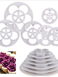 6 PC subieron flor forma fondant pastel sugarcraft de la goma de decoración herramientas de corte