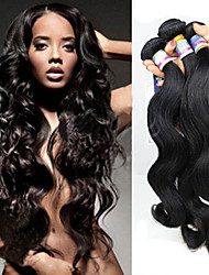3Pcs/Lot Brazilian Human Virgin Hair Hair Weaves Color Black Cheap Hair Weft No Shedding, Tangle Free