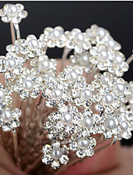 20pcs Pearl Flower U Shape Flower Wedding Headpieces Hairpins