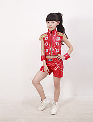 Jazz Performance Outfits Children's Performance Polyester/PU Fashion Tassel Outfit Red/Black/Blue Kids Dance Costumes