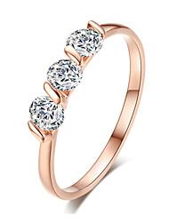 T&C Women's 18K Rose Gold Plated 0.25ct * 3 Pieces Zirconia Diamond Ladies Jewellery Rings
