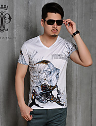 YINHUAWANGZI®Men's Exempt Iron Digital printing Tees Elastic/Casual/Slim/Sleeves Tees (Cotton,Lesel fiber)