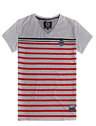 Men's Printing Stripe New Design Short Sleeve Top Tee T-Shirt(100%Cotton)6002