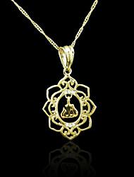 18K plaqué or véritable allah musulman pendentif zircon 2,4 * 4.2cm