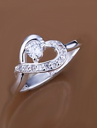 Diamond Heart Shape 925 Silver Statement Rings (1pc)