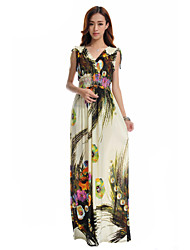 Morefeel Women's V Neck Print Ice Silk Oversize Maxi Dress(More Colors)