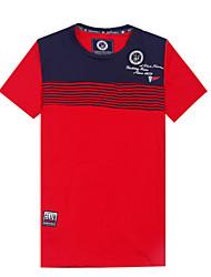 Masculino Camiseta Algodão Estampado / Listrado / Cor Solida Manga Curta Casual / Escritório / Formal / Esporte / Tamanhos Grandes-