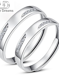 Poetry Dreams Sterling Silver Cubic Zirconia Adjustable Rings Couple Rings Set