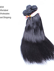 "4Pcs Lot 10-26"" Unprocessed Mongolian Virgin Human Hair Yaki Straight Color Natural Black Hair Bundles/Wefts"