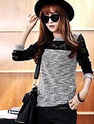 T-Shirt Da donna Girocollo Manica lunga Pizzo/Cotone