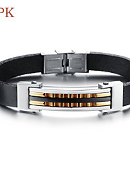 OPK®Stainless Steel Character Joker 18 K Gold Men's and Women's Wear Length Adjustable Leather Bracelet