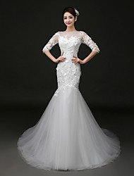 Trumpet/Mermaid Court Train Wedding Dress -Bateau Tulle