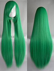 Hot Sale 40 Inches High Temperature Fiber Long Straight Green Cosplay Costume Wig Side Bang