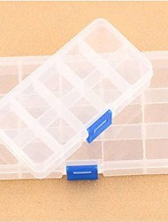 Plastic Ten Slots Adjustable Jewelry Storage Box