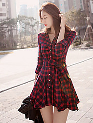 Women's Plaid Slim Dress