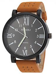 Men's Military Design Khaki Leather Band Quartz Wrist Watch Cool Watch Unique Watch