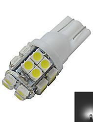 JIAWEN® T10 1.2W 20X3528SMD 85LM 6000-6500K Cool White Inverted Side Wedge Light LED Car Lights (DC 12V)