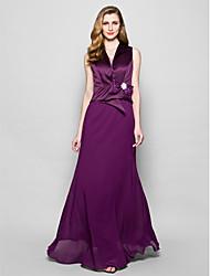 A-line Plus Sizes / Petite Mother of the Bride Dress - Grape Floor-length Sleeveless Chiffon / Satin