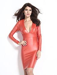Women's V-neck Long Sleeve Leather Dress