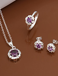 Silver Jewelry,Silver Fashion Jewelry Purple Crystal Necklace&Earrings&Ring Jewelry Sets For Women SS551