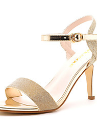 Women's Shoes Leather Chunky Heel Slide Sandals Casual Silver/Gold