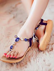 Women's Shoes Bohemia Rhinestone Flat Heel Comfort Flipflop Sandals Casual Black/Purple/White
