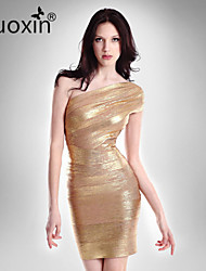 nuoxin® Women's One Shoulder Package Buttocks Cultivate One's Morality Stretch The Bandage Sexy Dress