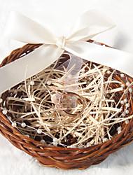 Cuscino per fedi - Giardino - Nastri/Perle false/Rattan - di Rattan