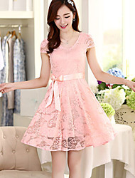 Women's Sexy Casual Cute Short Sleeve Knee-length Dress (Lace)