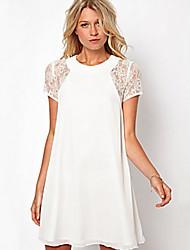 COMOWomen's Sexy Round Short Sleeve Dresses (Lace)