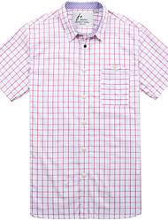 Men's Short Sleeve Shirt , Cotton Casual/Work/Formal/Sport/Plus Sizes Plaids & Checks