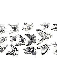 1pc Chic Waterproof Temporary Tattoos Neck/Wrist/Arm/Finger Tattoos Glitter Grey Butterfly Tattoos(24*10CM)