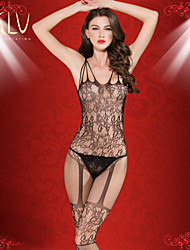 Women High-end Jacquard Hosiery Tight Net Conjoined Open Files Nylon/Spandex Nightwear Sexy Lingerie