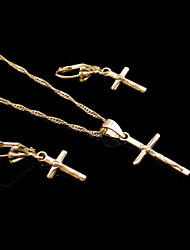 18K Real Gold Plated Cross Necklace+Earrings Jewelry Set