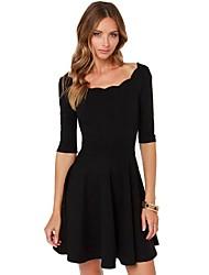 2015 New Fashion Summer Women Dress Half Sleeve O Neck Black Color Scallop Cute Vestidos