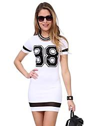 2015 New Fashion Summer Women Dress Short Sleeve O Neck Number 88 Printed  Mesh Patchwork Dresses Roupas Femininas