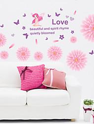 decalques de parede adesivos de parede, flores desabrochando pvc adesivos de parede