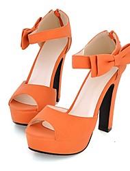DamenKleid-Kunstleder-Blockabsatz Plateau-Plateau Fersenriemen-Schwarz Rosa Beige Orange