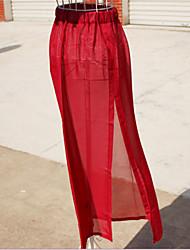 Women's Casual High Waist Side Slit Long Chiffon Skirts