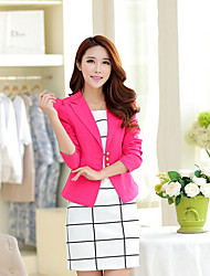 Women's Casual Medium Long Sleeve Short Blazer (Cotton Blends)