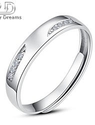 Poetry Dreams Sterling Silver Cubic Zirconian Adjustable Ring Men's Ring