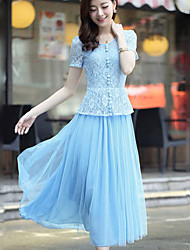 Women's Sexy Cute Micro Elastic Short Sleeve Midi Dress (Chiffon)