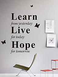 Wandaufkleber Wandtattoo, Stil lernen von gestern Englisch Wörter&zitiert PVC Wandaufkleber
