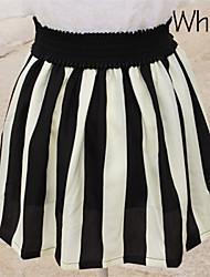 Women's Casual High Waist Stripe A-Line Skirts