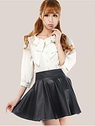 color sólido pu falda de cuero de las mujeres yisala