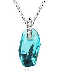 Moonlight Sonata Short Necklace Plated with 18K True Platinum Aquamarine Crystallized Austrian Crystal Stones