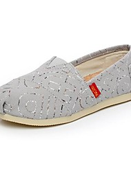 Women's Spring Fall Canvas Casual Flat Heel Sequin Gray Navy