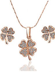 Arinna Fashion Jewelry Set Women 18k Rose Gold Plated clear crystal  Flower Necklace Earrings Gift Set G1352#2